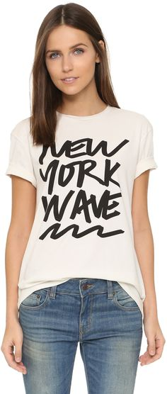 Best New York tee shirt in black and white. Super comfy and adorable. 6397 NY Wave Tee