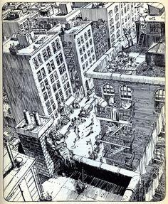 "The ""Life"" illustration from Will Eisner's ""City"" portfolio."