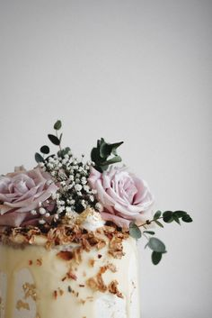 Rhubarb and Rose Naked Cake with Coconut Buttercream//