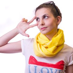 Sunny Yellow Felted Scarf by jezek on Etsy