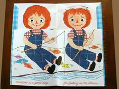 """Raggedy Ann and Andy """"Flip A Page Change an Outfit"""" 1969 Whitman """"a First Doll Book"""" - Children's Books"""