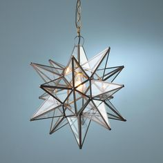 "Superior Moravian Star Light 60 watts. (medium base socket) (19""Hx19""W) 3' chain 5' cord 5"" canopy Price: $269.00"