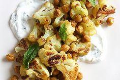 Roasted Cauliflower and Chickpeas with Minted Yogurt