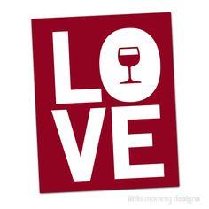 Wine Art, I LOVE my WINE, Featured in Ember Red, Bar Art, Kitchen Art, Typography 8 x 10 Print. $20.00, via Etsy.