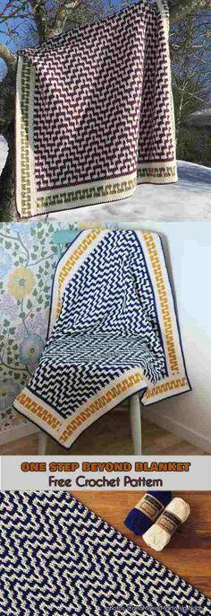 One Step Beyond Blanket Free Crochet Pattern . #freecorchetpatterns #crochetblanket #babyblaket #mosaicblanket