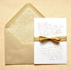Gold Wedding Invitations Gold Calligraphy