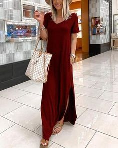 V-neck Casual Dress With Pocket – Dressisi Maxis, Maxi Dress With Sleeves, Short Sleeve Dresses, Short Sleeves, Blue Dresses, Casual Dresses, Maxi Dresses, Marine Uniform, Types Of Sleeves