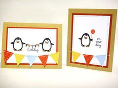 Birthday penguin cards by Heather Nichols for PTI (November 2011).