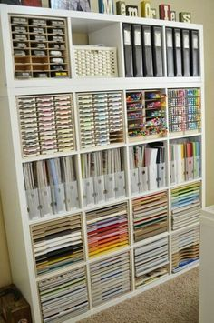 Storage from I KEA Craft Organization, Craft Paper Storage, Organisation, Fun Crafts, Paper Crafts, Scrapbook Supplies, Scrapbooking, Ikea Shelves, Desks