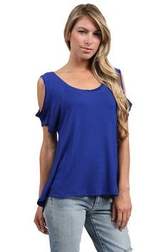The Cold Shoulder Tee in Royal by Veronica M from MFredric.com $48.00