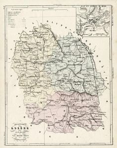 Antique Map of Lozere France With Inset of Mende