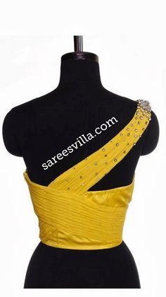 Collection of one shoulder saree blouse back designs.