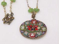 99 Vintage Mosaic Pendant, Jade beaded Necklace
