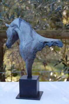 #Bronze #sculpture by #sculptor Marie Ackers titled: 'Pretty Boy (Bronze Metal Horse Head to Cruppers Bust sculpture/statue)'. #MarieAckers