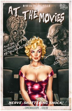 At The Movies by *Valzonline on deviantART | This image first pinned to Marilyn Monroe Art board, here: http://pinterest.com/fairbanksgrafix/marilyn-monroe-art/ || #Art #MarilynMonroe