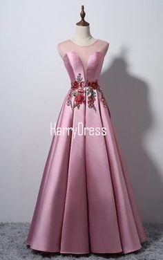Sleeveless Pink A Line Cap Sleeve Satin Floor Length O Neckline Long Prom Dress