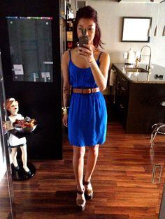 @LC in a blue #eightsixty silk dress!