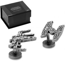 These Star Wars X-Wing and Tie Fighter cufflinks are a great Father's Day gift for the dad who loves sci-fi. Officially licensed by Disney and Lucas. $65 on our website. #ForceAwakens #StarWars #jewelry #MensFashion #shopping #clothing