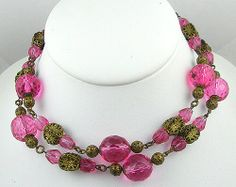 Vintage Pink Crystal & Filigree Bead Necklace - Garden Party Collection Vintage Jewelry