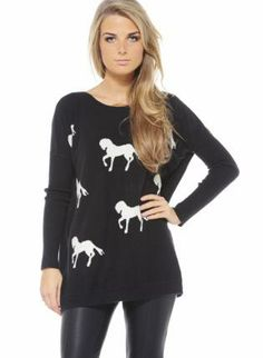 Black Knit Jumper with Contrast Horse Print,  Sweater, horse print  knit sweater, Casual
