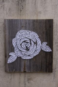 Country Chic Rose on Barn Wood String Art - Visit our site to order your own custom sign! www.hiddenstonearts.com