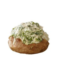 Creamed Spinach Baked Potato... Yum  Cook 2 chopped shallots in butter. Add 2 tablespoons flour; cook 2 minutes. Add 1 box thawed frozen spinach (squeezed dry), 1 cup half-and-half and some nutmeg; cook 5 minutes. Season with salt. Spoon onto baked potatoes and top with parmesan.