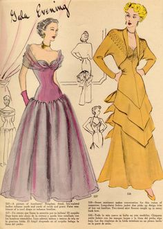 Two eye-catchingly glamorous looks for gala evenings, ca. 1940s.