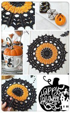 Crochet Coaster Pattern Free, Crochet Pumpkin Pattern, Free Crochet Doily Patterns, Crochet Doily Diagram, Crochet Doilies, Halloween Crochet Patterns, Crotchet Patterns, Halloween Sewing, Diy Crochet Projects