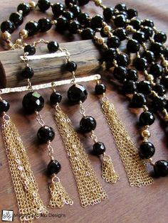 The Stunning Gold And Black Onyx Necklace With Tassel Pendant (jewelry, handmade, hand made, dressy, casual, red carpet, evening, wedding, bride, bridal, fashion, style, stylish, women, woman)
