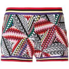 Missoni geometric knitted shorts (14,785 GTQ) ❤ liked on Polyvore featuring shorts, missoni shorts, missoni, multi colored shorts, geometric shorts and colorful shorts