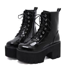 Woman Lace Autumn Boots Womens Ladies Chunky Wedge Platform Black Patent Leather Ankle Boots Punk Goth New Arrival 2020 - 2020 Women's Shoes Leather High Heel Boots, Platform Ankle Boots, Lace Up Ankle Boots, Shoe Boots, Platform Boots Outfit, Black Combat Boots, High Platform Shoes, Combat Boots Heels, Boots With Heels