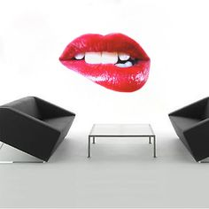 Lips Wall Decals Lips Wall Mural Lip Wall Art Decal by PrimeDecal Bathroom Wall Decals, Modern Wall Decals, Wall Mural Decals, Wall Art, Inspirational Wall Quotes, Lip Biting, All Wall, Beautiful Wall, Adhesive Vinyl