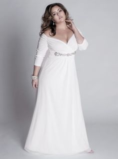 Fall Plus Size A Line Wedding Dress With Sleeves