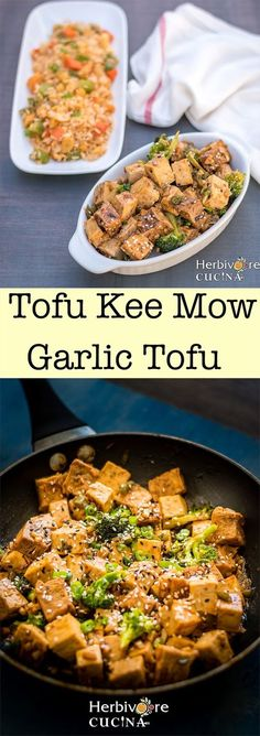 Herbivore Cucina: Tofu Kee Mow | Garlic Tofu.........A quick side made from pan-fried tofu, lots of garlic and Asian sauces and spices. A 15 minute, one pan dish that is super delicious!.....    #TofuKeeMow #GarlicTofu #ThaiTofuRecipes #AsianCooking #KrungThai #VeganCooking #FirmTofuRecipe #GarlicSauce #PanFriedTofu #15MinuteDinners #VegetarianThaiRecipes