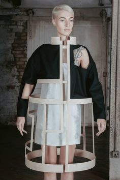 Conceptual Fashion - sculptural deconstructed jacket exploring negative space; dramatic 3D fashion // ICE by Charlotte Ham
