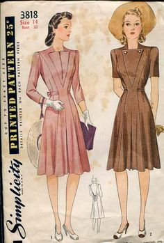 Simplicity 3818 1940s Dress Pattern