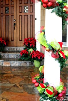 Top This Top That: Christmas Decor Outside the House - close up of columns.