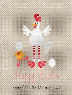 Chicken Happy Easter  Cross x Stitch PATTERN