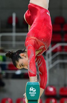 #RIO2016 US gymnast Alexandra Raisman practices on the beam of the women's Artistic gymnastics at the Olympic Arena on August 4 2016 ahead of the Rio 2016...