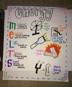Forms of energy anchor chart! Preschool Science, Elementary Science, Science Classroom, Teaching Science, Science Education, Science Activities, Science Projects, Science Expirements, Science Ideas