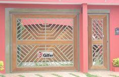 GM - 06 - Portão de Aço Tubular com Detalhe em Madeira