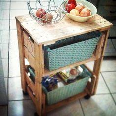 Fruteira feita com caixa de feira e madeira de pallet.