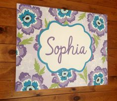 large personalized nursery art- Hand-painted -  Inspired by Brooklyn bedding- purple lavender teal aqua paisleys on Etsy, $85.00