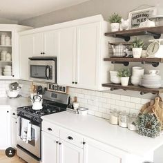 "114 Likes, 9 Comments - Lauren (@southern_nest) on Instagram: ""Day 3 of our Farmhouse Spring Decor Challenge = Farmhouse Kitchen!! I'm in LOVE with this kitchen…"""