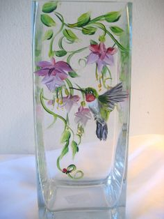 Hand painted vase with fuschia and hummingbird ,tall size