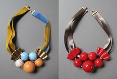 Marion Vidal, architecturally-shaped statement necklaces are made with ceramics, ribbons, wood, and other lovely textiles