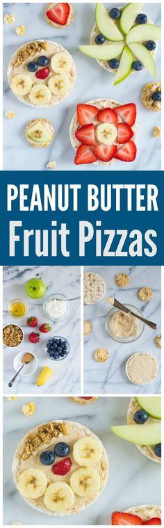 """Peanut Butter Healthy Fruit Pizzas. Kids LOVE these! Rice cakes spread with a creamy peanut butter yogurt """"sauce,"""" topped with fresh fruit. A perfect healthy snack for kids. Great for lunchboxes and healthy after school snacks too! Recipe at wellplated.com @Well Plated #backtoschool #healthysnacks"""