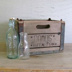 Antique Milk Crate Wood Wire Buffalo Heavy Duty Old $37