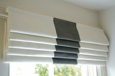window ideas - Roman blind with centre stripe