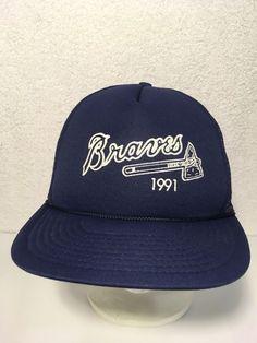 c6229cadf6f Vintage 1991 Atlanta Braves Snapback Trucker Hat